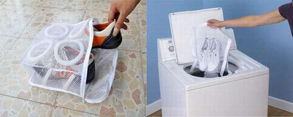 Использование мешка для стирки обуви