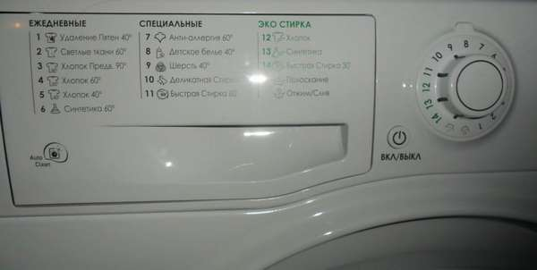 Режимы работы стиральной машины Аристон