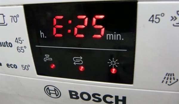 Ошибка Е25 в посудомоечной машине Bosch
