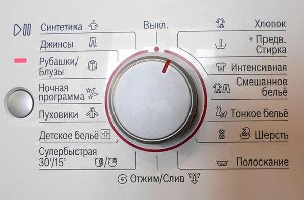 Панель управления и выбор режима стирки