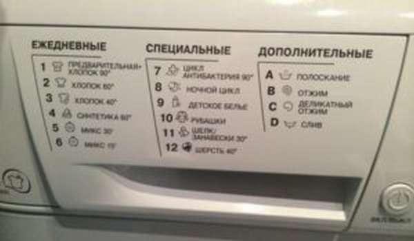 Расшифровка значков на стиральной машине Аристон