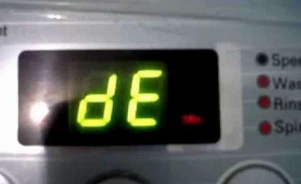 Код ошибки dE стиральных машин LG