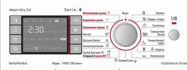 BoschWVH28442OE панель управления