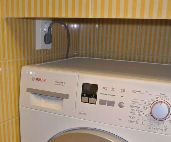 расположение розетки для стиральной машины