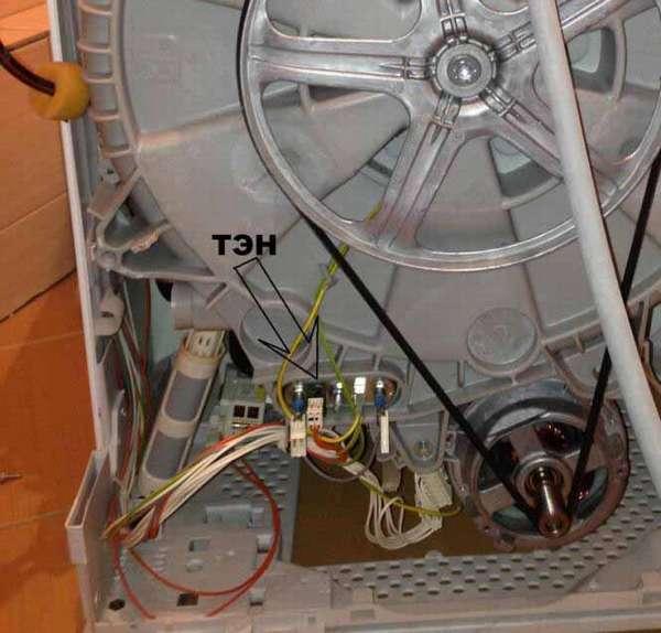 Расположение тэна стиральной машины