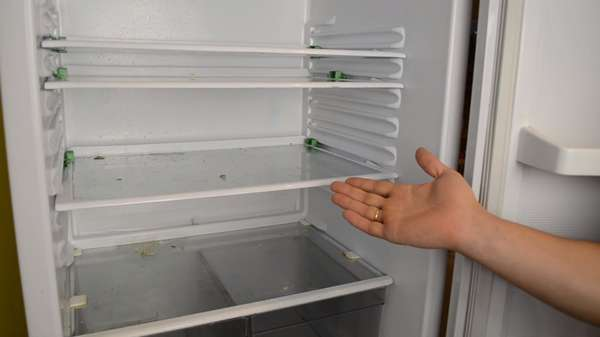 Так выглядит пустой холодильник до мытья.
