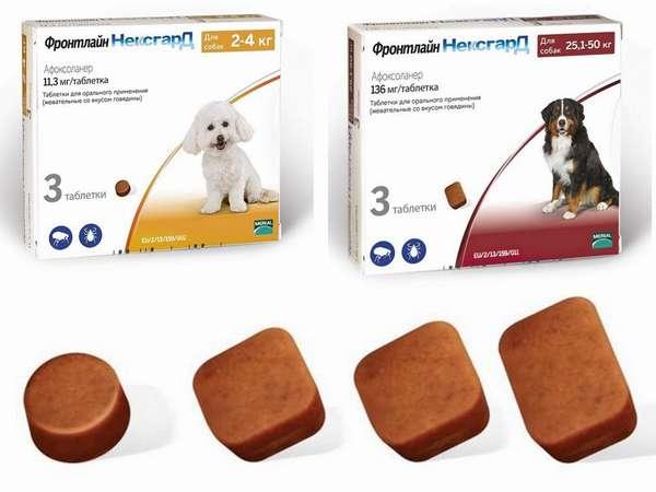 Жевательные таблетки Фронтлайн Нексгард от блох и клещей для собак - инструкция по применению и отзывы