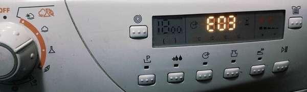 Стиральная машинка Канди показывает ошибку E03