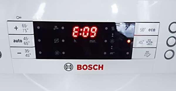 Ошибка е09 посудомоечной машины Bosch (Бош)